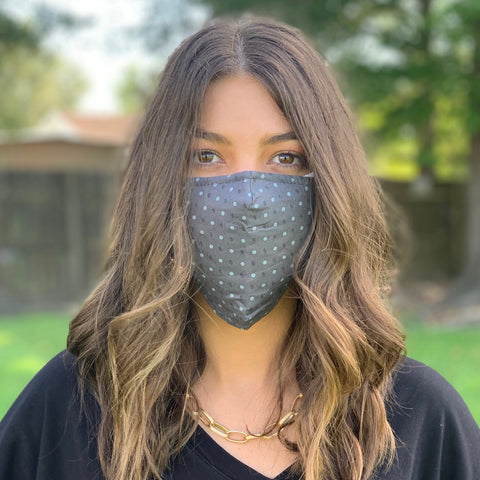 FACE MASK-PRINTED COTTON GREY/LT,GREY DOT