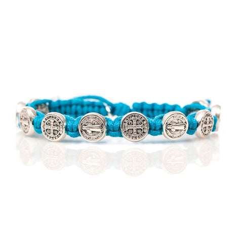 SILVER BENEDICTINE BLESSING BRACELET -TURQUOISE