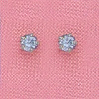 SILVER PRONG MARCH (LIGHT BLUE) EAR PIERCING STUD 3MM, FOR SENSITIVE EARS. SURGICAL STAINLESS STEEL. NICKEL & ALLERGY FREE.