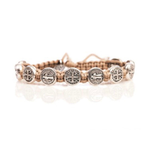SILVER BENEDICTINE BLESSING BRACELET -TAN