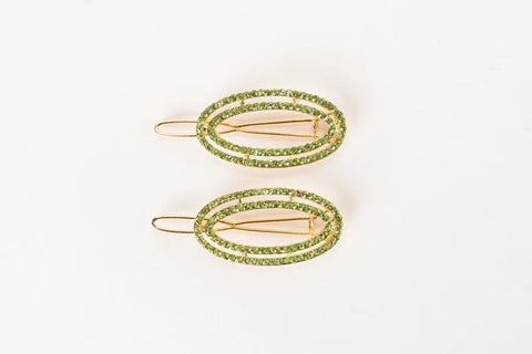 BARRETTE-PENNY PAVE SET-GOLD/LIME