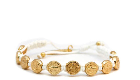 GOLD BENEDICTINE BLESSING BRACELET -WHITE