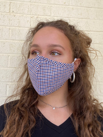 FACE MASK W INTERIOR POCKET PLAID NAVY/BROWN
