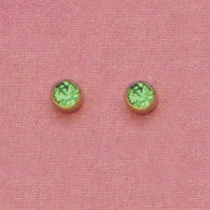 SINGLE GOLD BEZEL AUGUST (LIGHT GREEN) EAR PIERCING STUD 3MM, FOR SENSITVE EARS. SURGICAL STAINLESS STEEL. NICKEL & ALLERGY FREE.