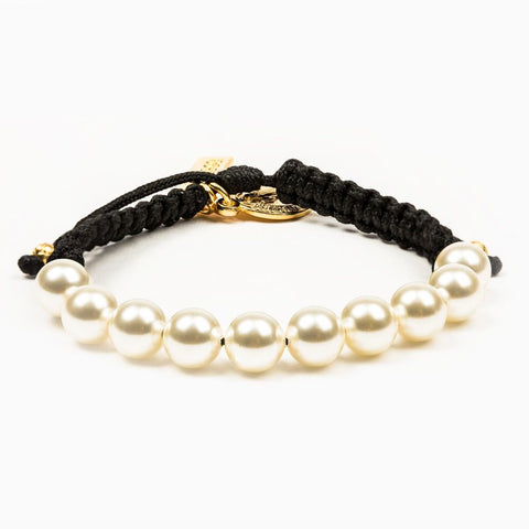 RADIANT PEARL BRACELET-BLACK/WHITE PEARLS/GOLD