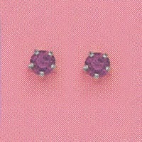 SILVER PRONG FEBRUARY (PURPLE) EAR PIERCING STUD 3MM, FOR SENSITIVE EARS. SURGICAL STAINLESS STEEL. NICKEL & ALLERGY FREE.