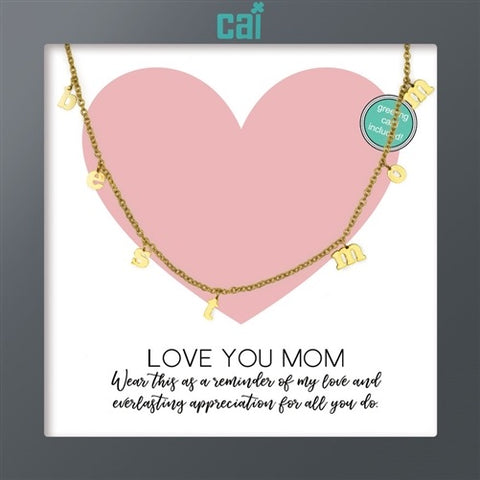NECKLACE-DAINTY/DANGLE GOLD BEST MOM