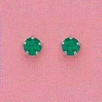 SILVER PRONG MAY (GREEN) EAR PIERCING STUD 3MM, FOR SENSITIVE EARS. SURGICAL STAINLESS STEEL. NICKEL & ALLERGY FREE.