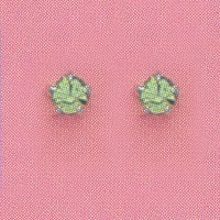 SILVER PRONG AUGUST (LIGHT GREEN) EAR PIERCING STUD 3MM, FOR SENSITIVE EARS. SURGICAL STAINLESS STEEL. NICKEL & ALLERY FREE.