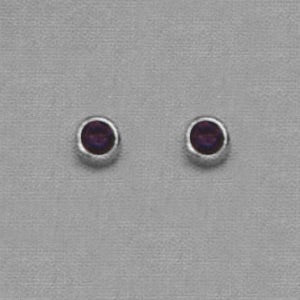 SINGLE SILVER BEZEL FEBRUARY (PURPLE) EAR PIERCING STUD 3MM, FOR SENSITVE EARS. SURGICAL STAINLESS STEEL. NICKEL & ALLERGY FREE.
