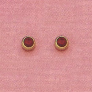 SINGLE GOLD BEZEL JULY (RED) EAR PIERCING STUD 3MM, FOR SENSITVE EARS. SURGICAL STAINLESS STEEL. NICKEL & ALLERGY FREE.