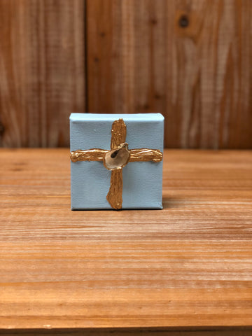 4X4 CANVAS SHELL GOLD CROSS/LIGHT BLUE