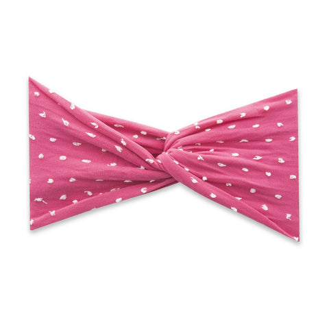 TWIST HEADBAND-SHABBY HOT PINK DOT