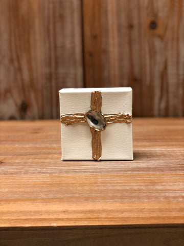 4X4 CANVAS SHELL GOLD CROSS/CREAM