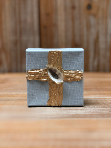 4X4 CANVAS SHELL GOLD CROSS/LT GREY