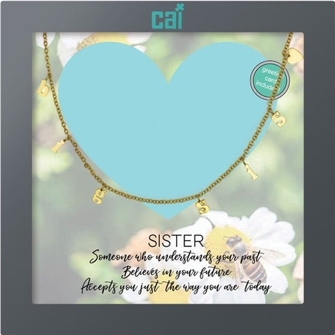 NECKLACE-DAINTY/DANGLE GOLD BIG SIS HEART