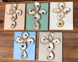 8X10 CANVAS SHELL CROSS GOLD/LIGHT TAUPE