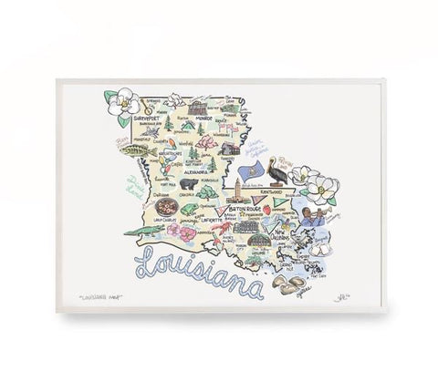 "LOUISIANA MAP PRINT 12""X18"""