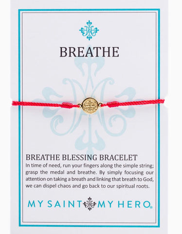 BREATHE- BRACELET - GOLD WITH RED