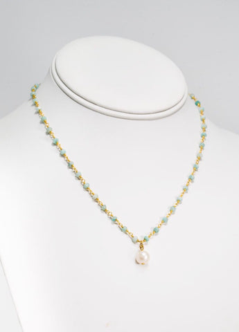 "MARIE KATHERINE-NECKLACE 115-18""MM AMAZONITE BEADED NECK"
