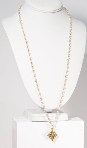 "MARIE KATHERINE-NECKLACE 29-32"" NAT BEAD CHAIN"