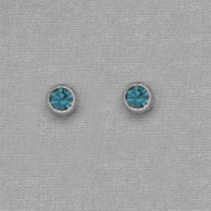 SILVER BEZEL DECEMBER (TEAL) EAR PIERCING STUD 3MM, FOR SENSITVE EARS. SURGICAL STAINLESS STEEL. NICKEL & ALLERGY FREE.