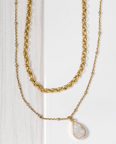 MARIE KATHERINE-NECKLACE GOLD TWO STRAND DRUZY TEARDROP