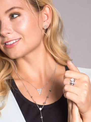 "KARMA DAINTY TRIANGLE NECKLACE-CZ/RHODIUM16""W3""EXTENDER"