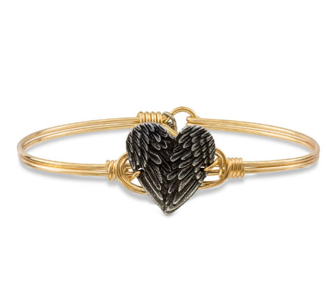 ANGEL WING HEART  BRASS BANGLE