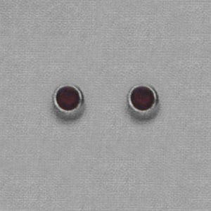 SINGLE SILVER BEZEL JANUARY (RED) EAR PIERCING STUD 3MM, FOR SENSITVE EARS. SURGICAL STAINLESS STEEL. NICKEL & ALLERGY FREE.