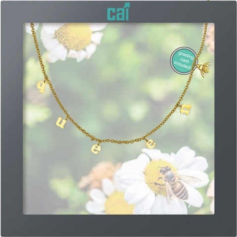 NECKLACE-DAINTY/DANGLE GOLD QUEEN BEE