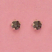 GOLD PRONG BLACK ICE CUBIC ZIRCONIA PIERCING STUDS 3MM, FOR SENSITIVE EARS. SURGICAL STAINLESS STEEL. NICKEL & ALLERY FREE.