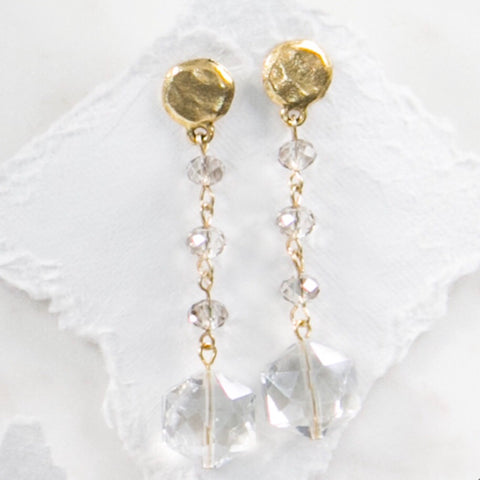 MARIE KATHERINE-EARRINGS 15MM CLEAR  CRYSTAL HEXAGON