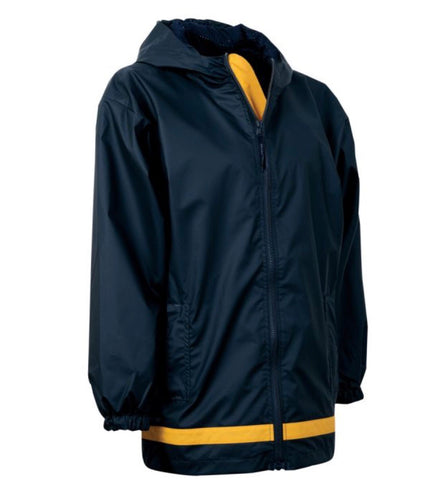YOUTH RAIN JACKET-TRUE NAVY/YELLOW