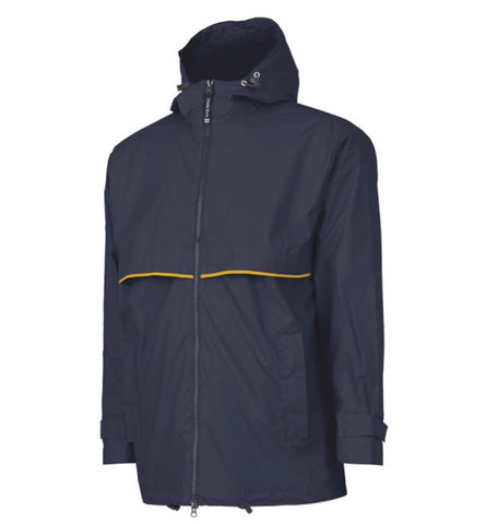 MEN'S RAIN JACKET -  TRUE NAVY/YELLOW