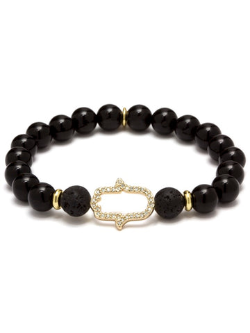 KARMA HAMSA ESSENTIAL OIL BRACELET BLACK AGATE 14K GOLD PLATED