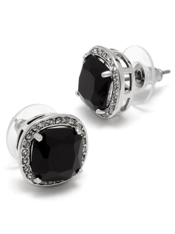 "PAVE LUXE STUD BLACK/SILVER, 1/2"" SURGICAL STEEL POST"