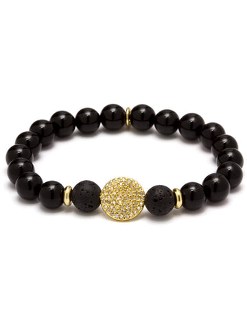 HARMONY DISC ESSENTIAL OIL BRACELET BLACK AGATE/14KT GOLD PLATED