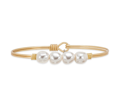 BAROQUE PEARL BRASS BANGLE SMALL