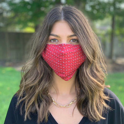 FACE MASK-PRINTED COTTON RED/GREY DOT