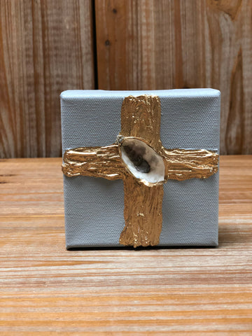 4X4 CANVAS SHELL GOLD CROSS/ GREY