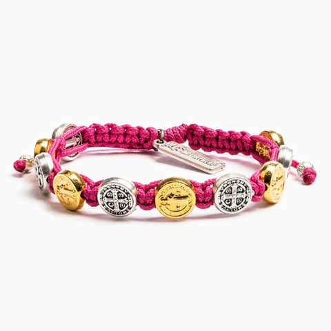 MIXED BENEDICTINE BLESSING BRACELET -FUCHSIA