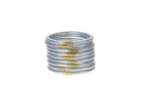 BUDHAGIRL BANGLES-SET OF 9-SILVER