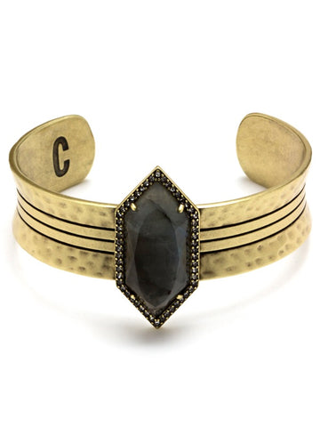 LUNA SPEAR STATEMENT CUFF-LABRADORITE ,ADJUSTABLE