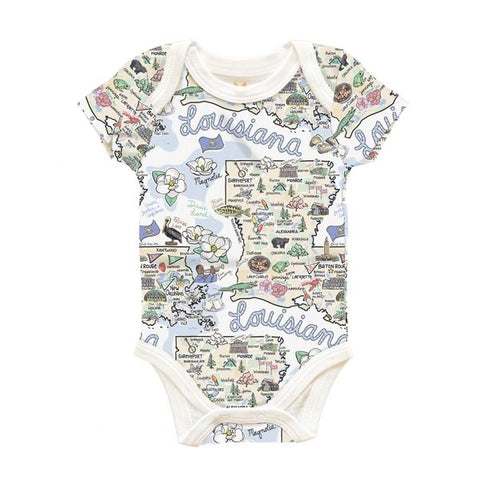 LOUISANA MAP BABY ONE-PIECE