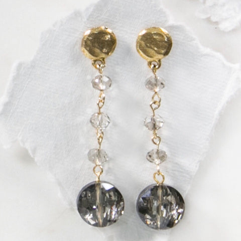 MARIE KATHERINE-EARRINGS 14MM ROUND CHARCOAL CRYSTAL