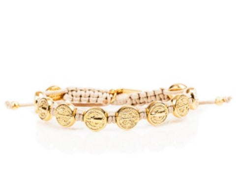 GOLD BENEDICTINE BLESSING BRACELET -TAN