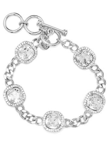 "PAVE LUXE BRACELET CLEAR/SILVER 7"",7 1/2"",8"""