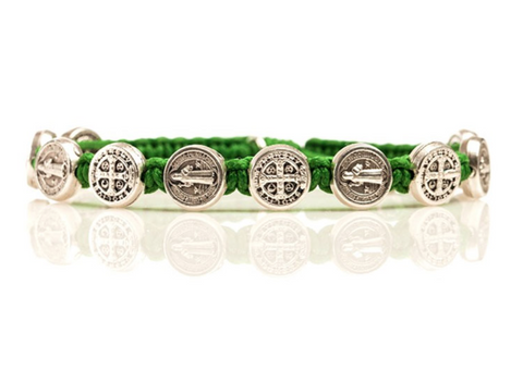 SILVER BENEDICTINE BLESSING BRACELET -GREEN