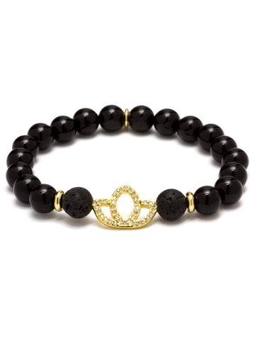 KARMA LOTUS ESSENTIAL OIL BRACELET BLACK AGATE 14K GOLD PLATED